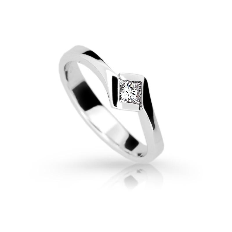Danfil Zlatý zásnubní prsten DF 1977, bílé zlato, s diamantem