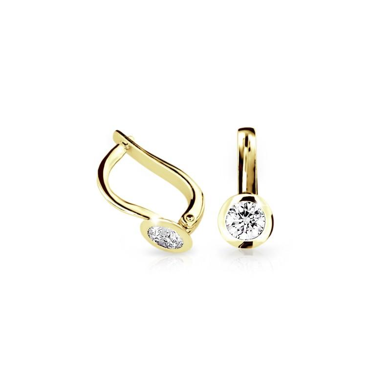 Danfil Zlaté náušnice DF 1987, diamantové, žluté zlato