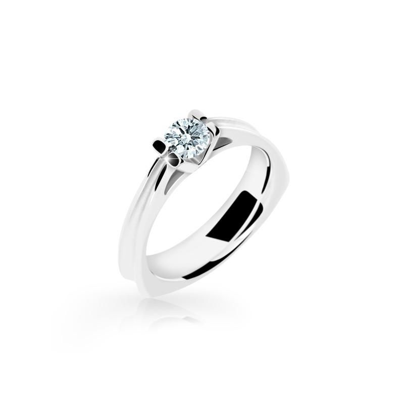 Danfil Zlatý zásnubní prsten DF 1992, bílé zlato, s diamantem