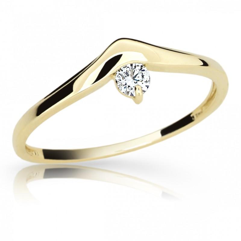 Danfil Zlatý zásnubní prsten DF 2016, žluté zlato, s briliantem