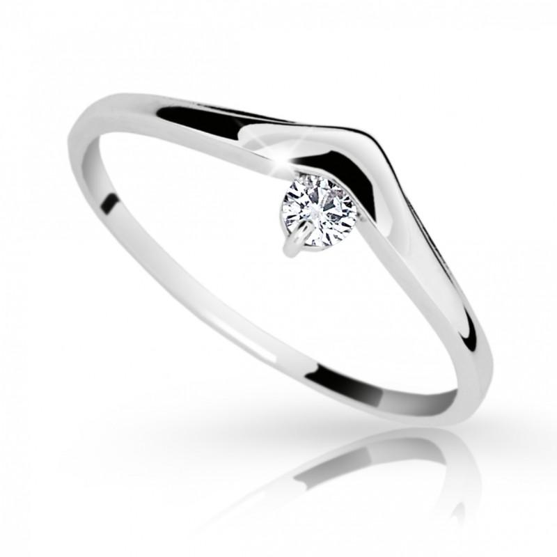 Danfil Zlatý zásnubní prsten DF 2016, bílé zlato, s briliantem