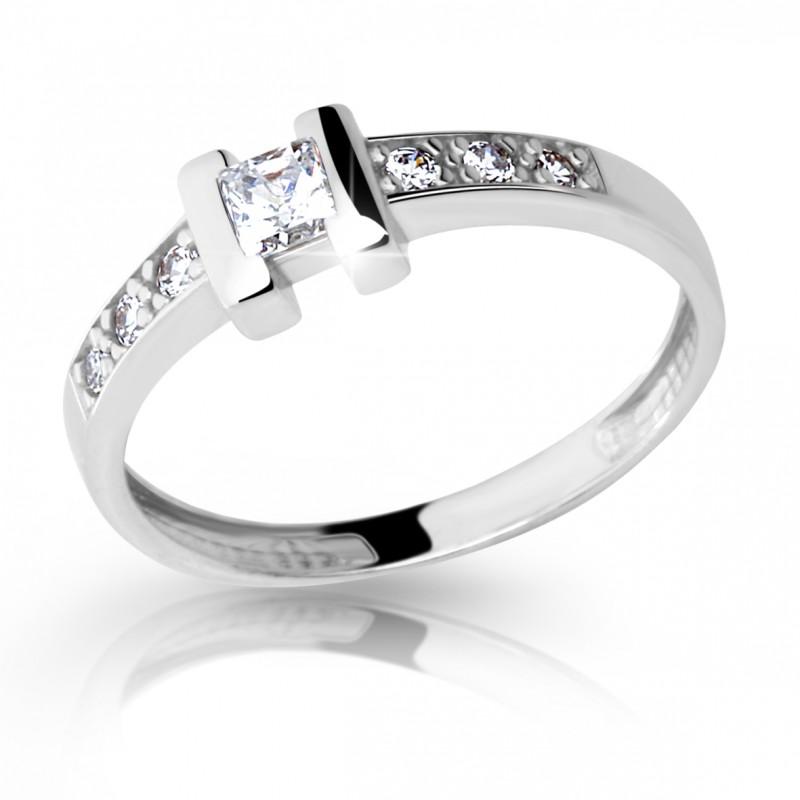 Danfil Zlatý zásnubní prsten DF 2062, bílé zlato, s briliantem