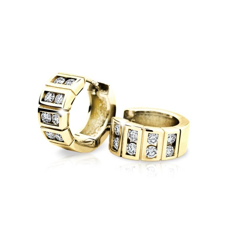 Danfil Zlaté náušnice DF 2068, briliantové, žluté zlato