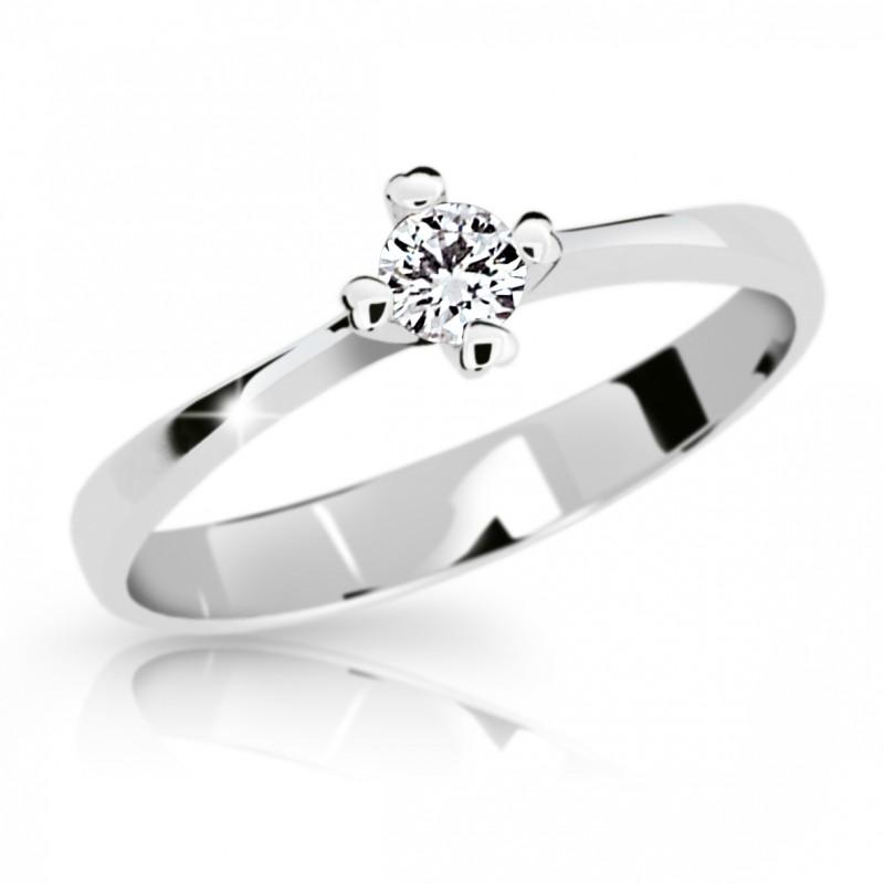 Danfil Zlatý zásnubní prsten DF 2089, bílé zlato, s briliantem