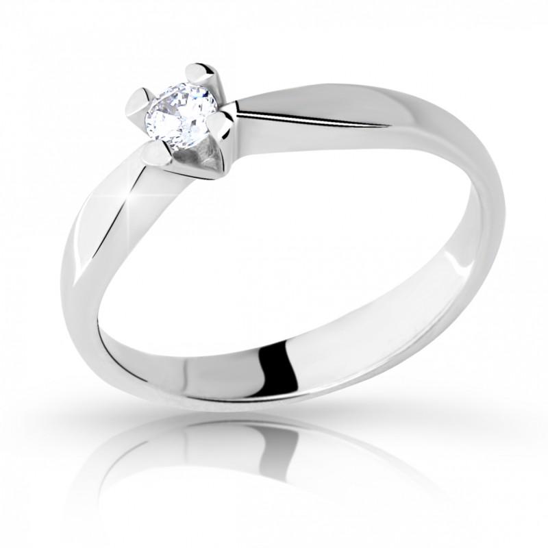 Danfil Zlatý zásnubní prsten DF 2100, bílé zlato, s briliantem