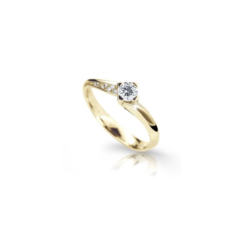 Danfil Zlatý zásnubní prsten DF 2101, žluté zlato, s briliantem
