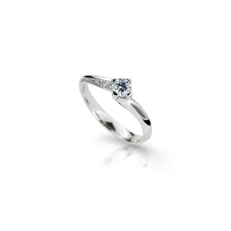 Danfil Zlatý zásnubní prsten DF 2101, bílé zlato, s briliantem