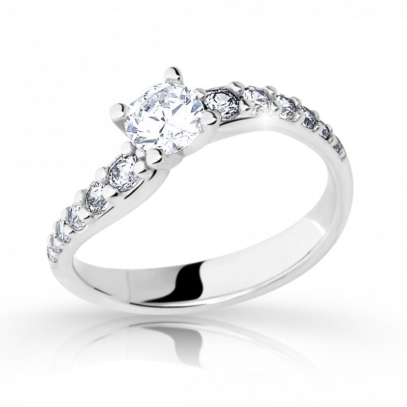 Danfil Zlatý zásnubní prsten DF 2102, bílé zlato, s diamantem