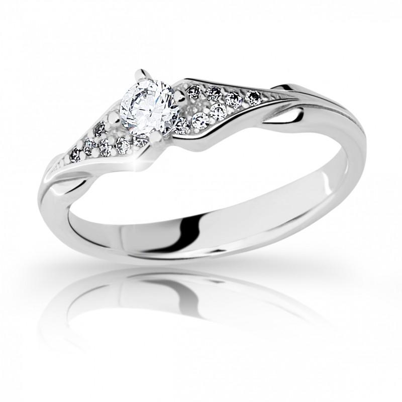 Danfil Zlatý zásnubní prsten DF 2104, bílé zlato, s briliantem