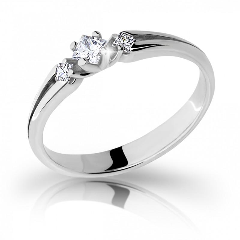 Danfil Zlatý zásnubní prsten DF 2105, bílé zlato, s briliantem