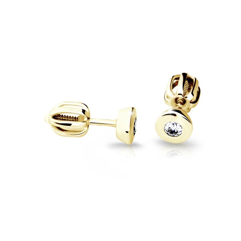 Danfil Zlaté náušnice DF 2108, briliantové, žluté zlato