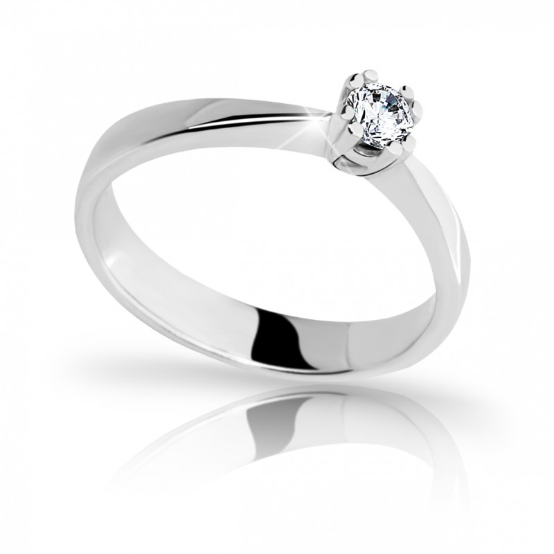 Danfil Zlatý zásnubní prsten DF 2119, bílé zlato, s briliantem