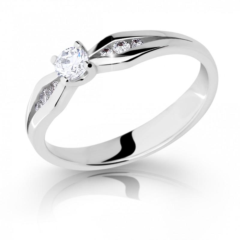 Danfil Zlatý zásnubní prsten DF 2122, bílé zlato, s briliantem
