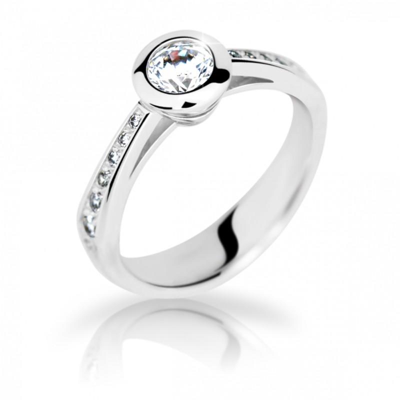 Danfil Zlatý zásnubní prsten DF 2124, bílé zlato, s diamantem