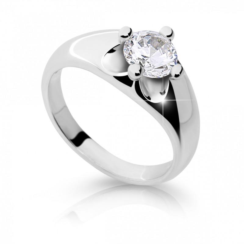 Danfil Zlatý zásnubní prsten DF 2129, bílé zlato, s diamantem