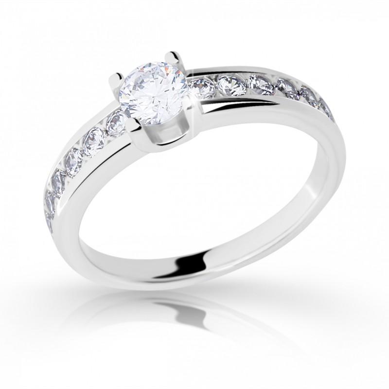 Danfil Zlatý zásnubní prsten DF 2146, bílé zlato, s diamantem