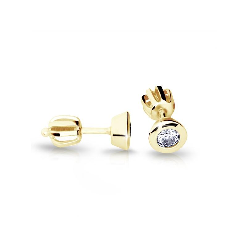 Danfil Zlaté náušnice DF 2294, briliantové, žluté zlato