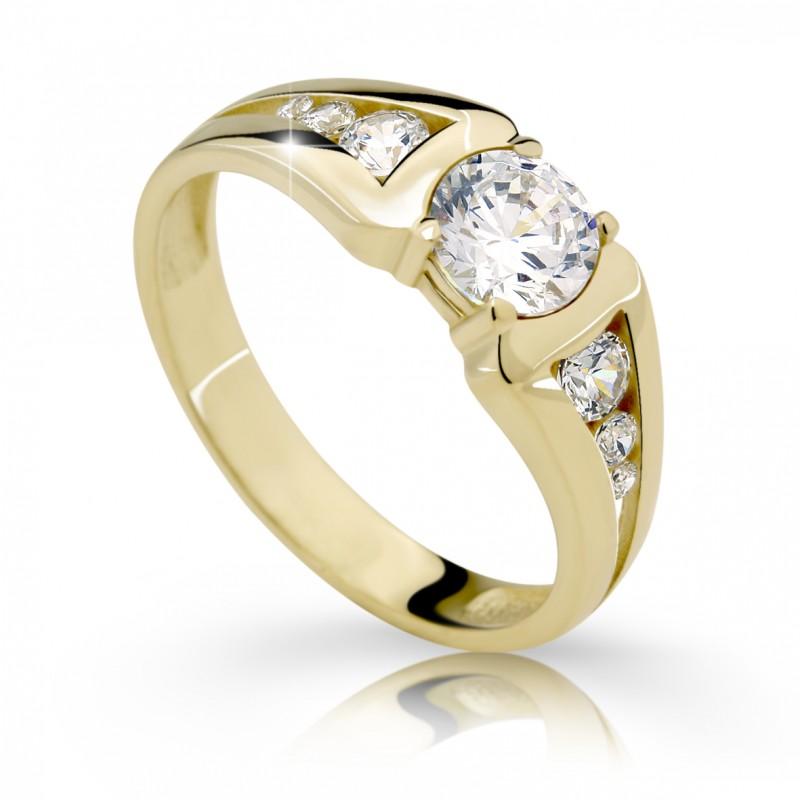 Danfil Zlatý zásnubní prsten DF 2352, žluté zlato, s diamantem