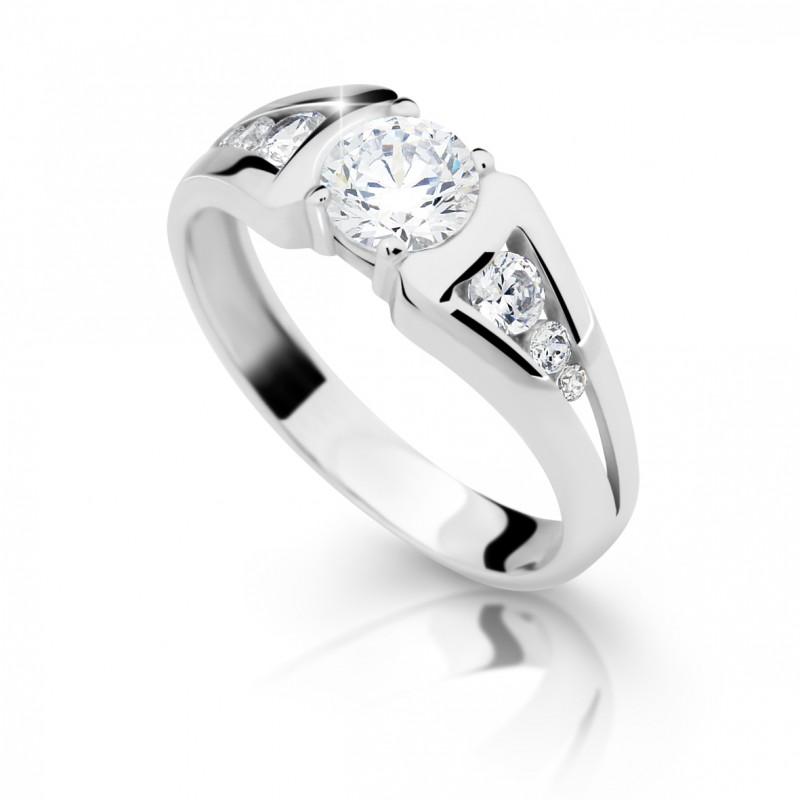 Danfil Zlatý zásnubní prsten DF 2352, bílé zlato, s diamantem