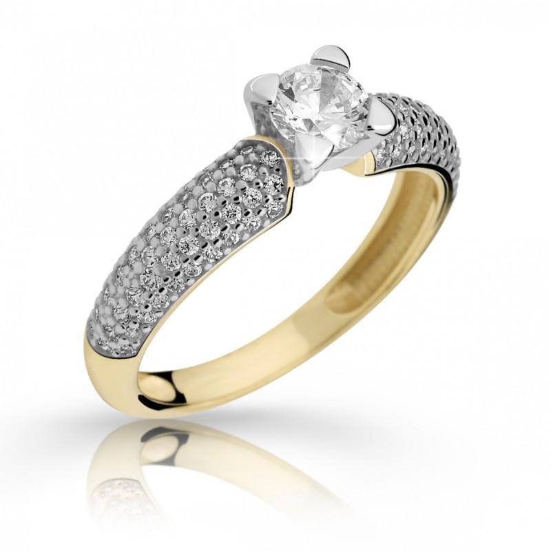 Danfil Zlatý zásnubní prsten DF 2353, žluté zlato, s diamantem