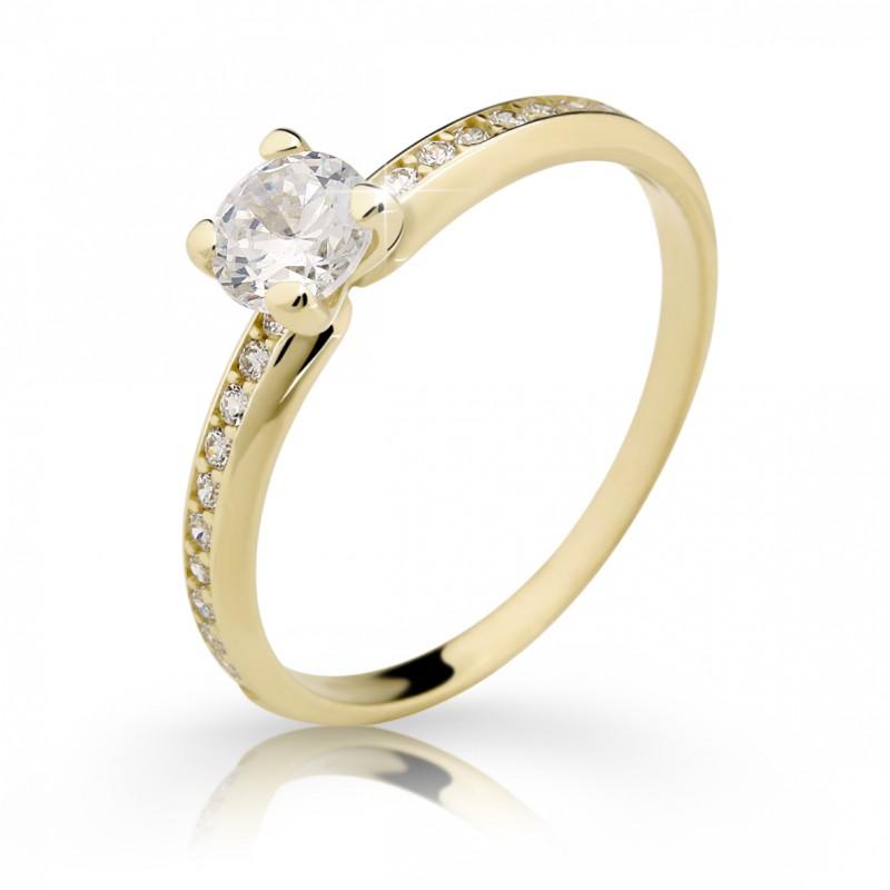 Danfil Zlatý zásnubní prsten DF 2354, žluté zlato, s diamantem