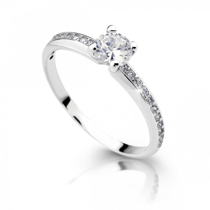 Danfil Zlatý zásnubní prsten DF 2354, bílé zlato, s diamantem
