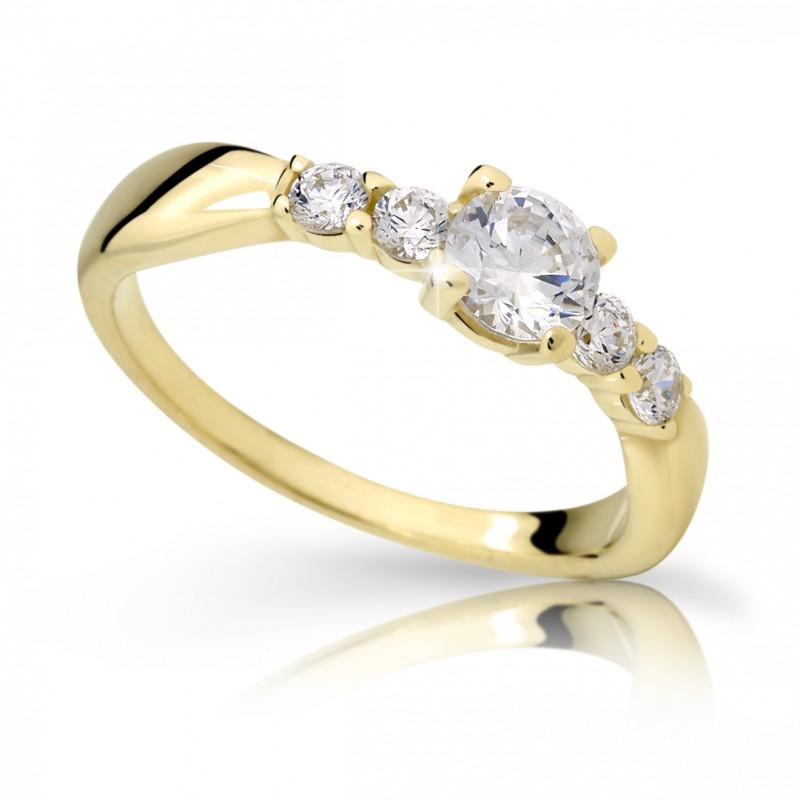 Danfil Zlatý zásnubní prsten DF 2356, žluté zlato, s diamantem