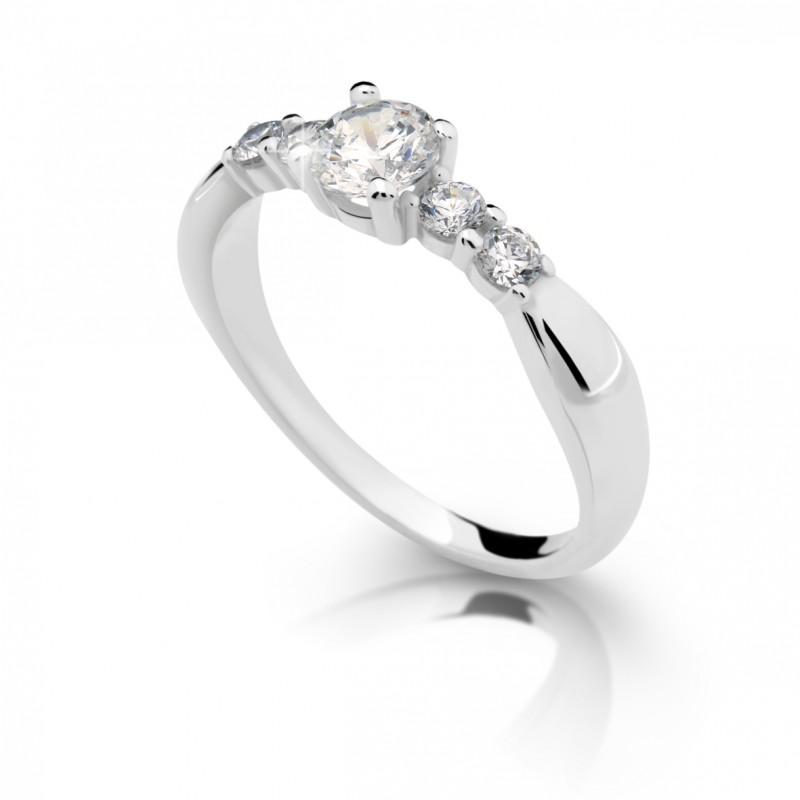 Danfil Zlatý zásnubní prsten DF 2356, bílé zlato, s diamantem