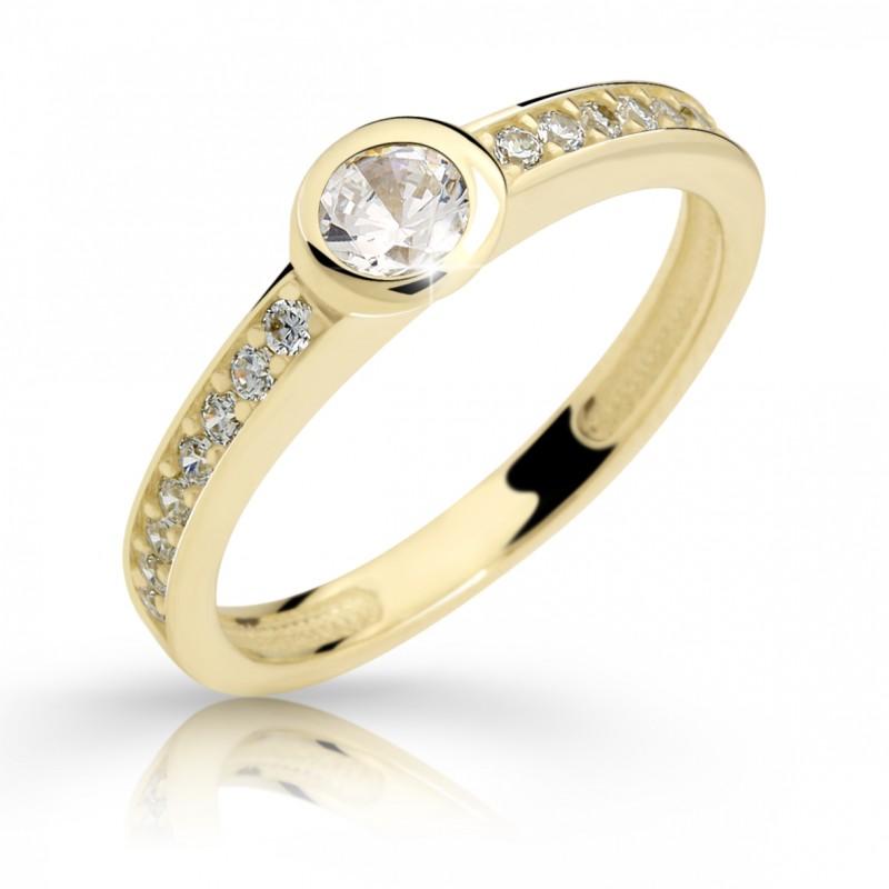 Danfil Zlatý zásnubní prsten DF 2357, žluté zlato, s briliantem