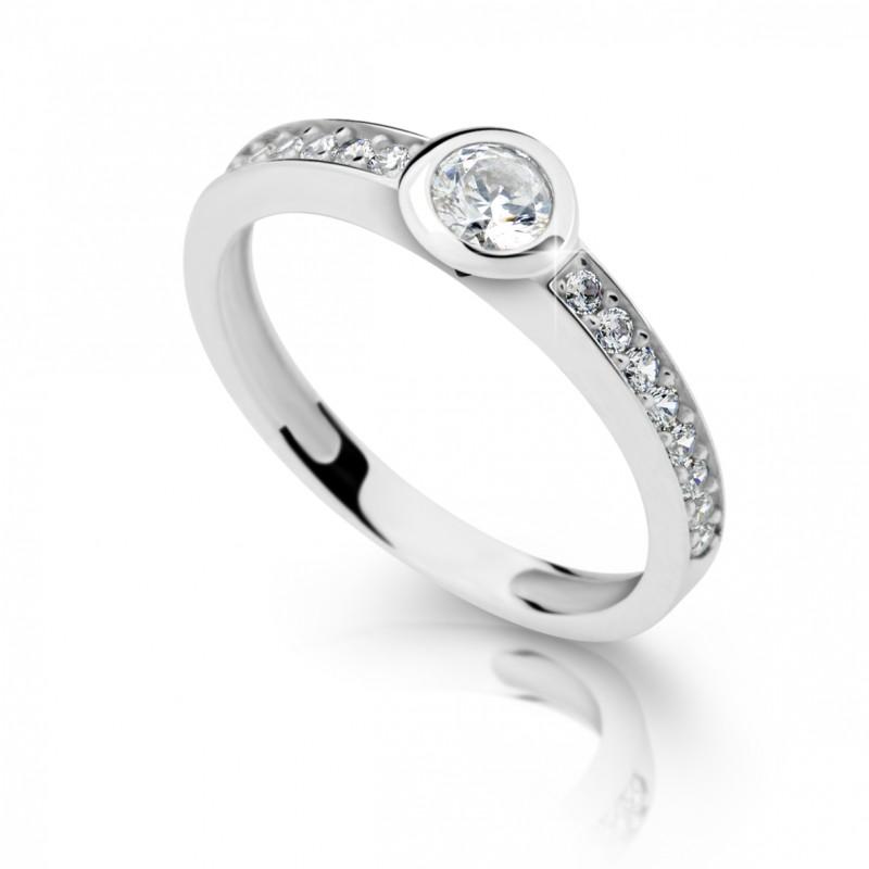 Danfil Zlatý zásnubní prsten DF 2357, bílé zlato, s briliantem