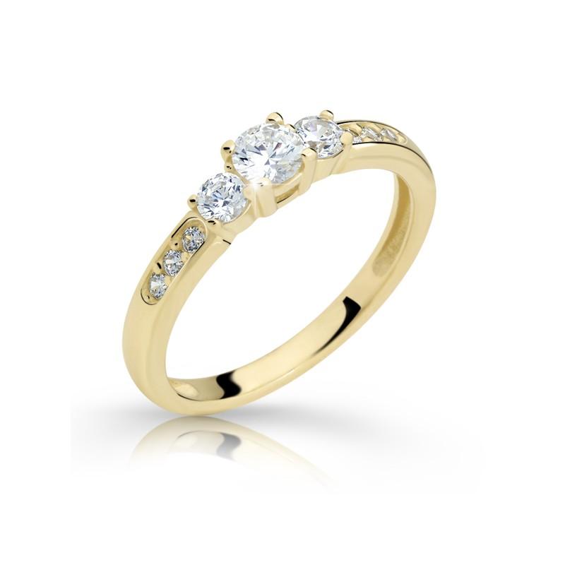 Danfil Zlatý zásnubní prsten DF 2360, žluté zlato, s briliantem