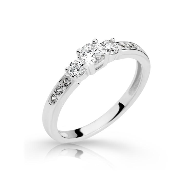 Danfil Zlatý zásnubní prsten DF 2360, bílé zlato, s briliantem