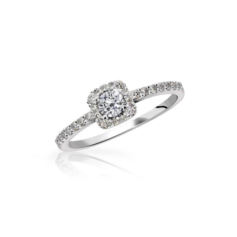 Danfil Zlatý zásnubní prsten DF 2800, bílé zlato, s briliantem