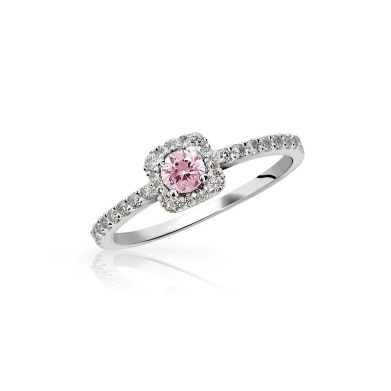 Danfil Zlatý zásnubní prsten DF 2800, bílé zlato, růžový safír s diamanty