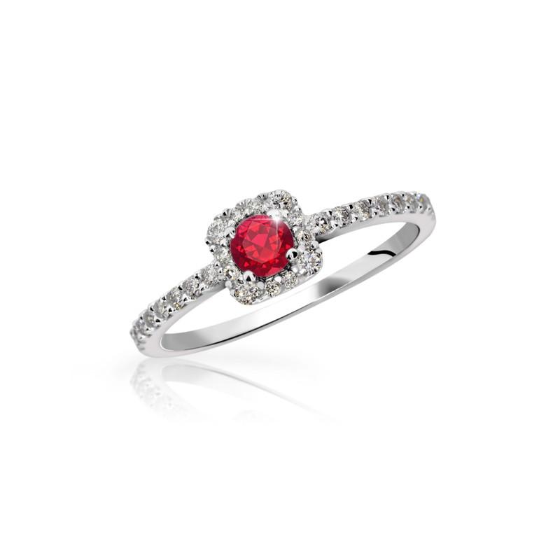 Danfil Zlatý zásnubní prsten DF 2800, bílé zlato, rubín