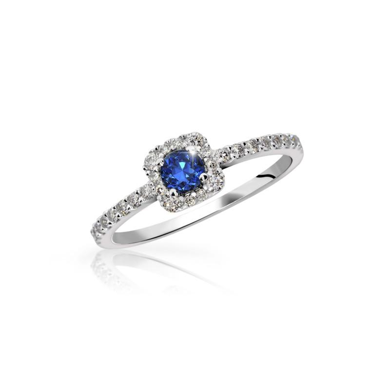 Danfil Zlatý zásnubní prsten DF 2800, bílé zlato, safír s diamanty