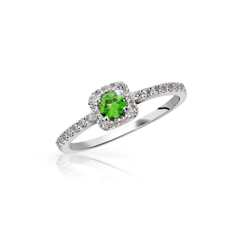 Danfil Zlatý zásnubní prsten DF 2800, bílé zlato, smaragd s diamanty