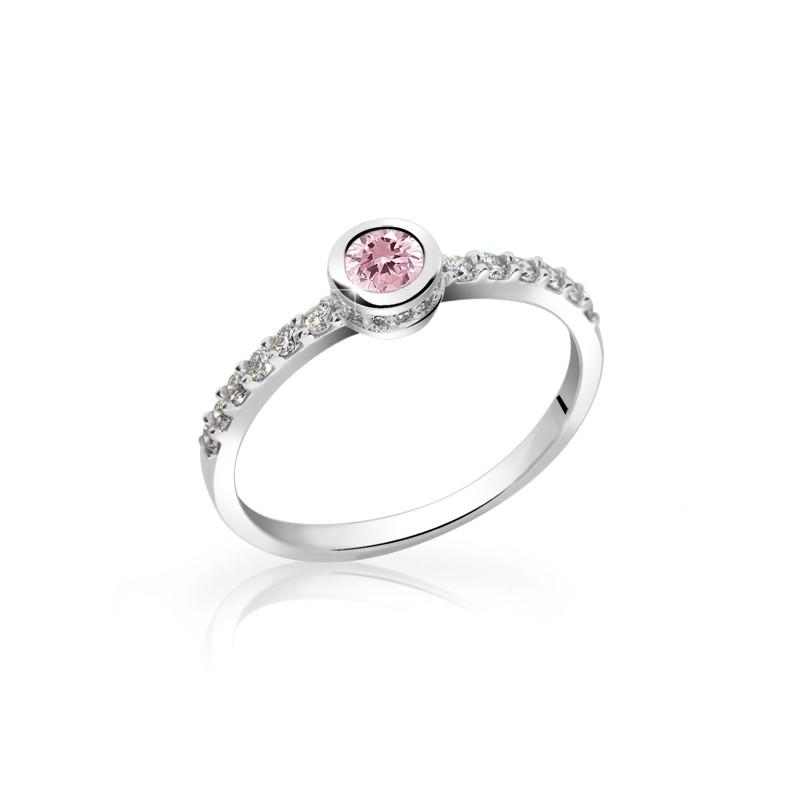 Danfil Zlatý dámský prsten DF 2803 z bílého zlata, růžový safír s diamanty + Doživotní servis zdarma, Dárkové balení, Certifikát pravosti kamene