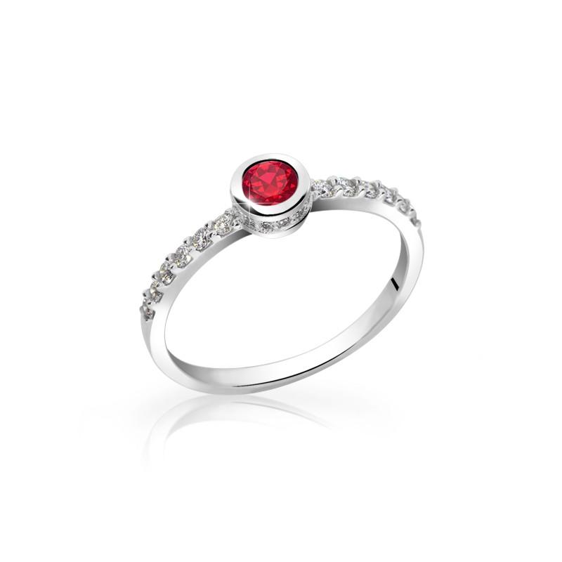 Danfil Zlatý dámský prsten DF 2803B z bílého zlata, rubín s diamanty