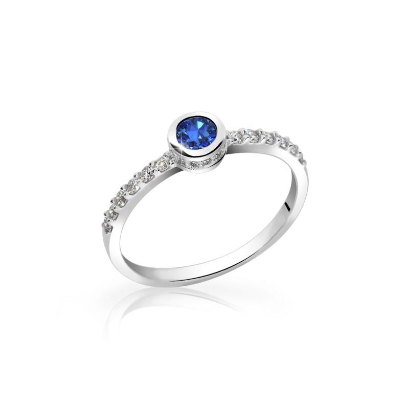 Danfil Zlatý dámský prsten DF 2803 z bílého zlata, safír s diamanty