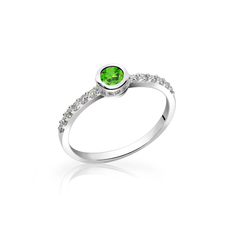 Danfil Zlatý dámský prsten DF 2803 z bílého zlata, smaragd s diamanty