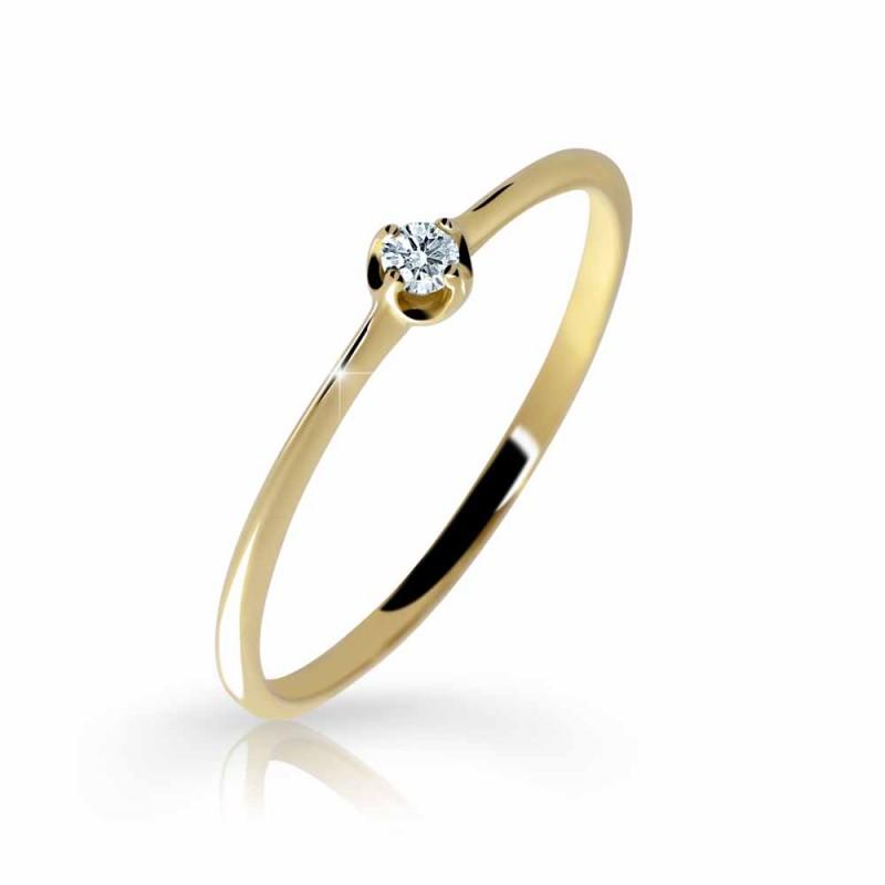 Danfil Zlatý zásnubní prsten DF 2931, žluté zlato, s briliantem