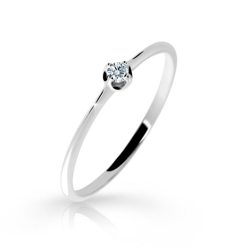Danfil Zlatý zásnubní prsten DF 2931, bílé zlato, s briliantem