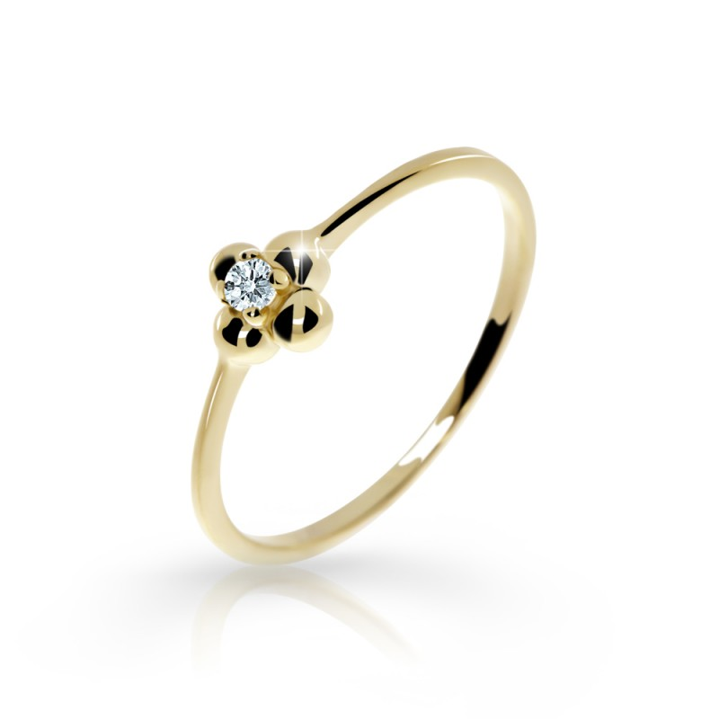 Danfil Zlatý zásnubní prsten DF 2932, žluté zlato, s briliantem
