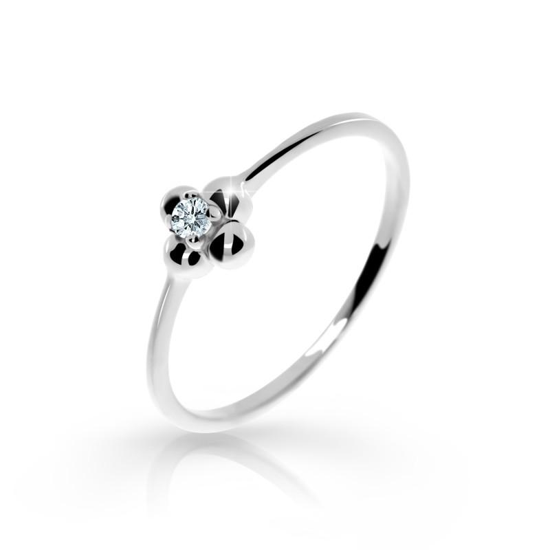Danfil Zlatý zásnubní prsten DF 2932, bílé zlato, s briliantem