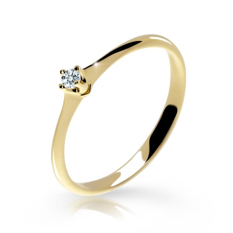 Danfil Zlatý zásnubní prsten DF 2940, žluté zlato, s briliantem