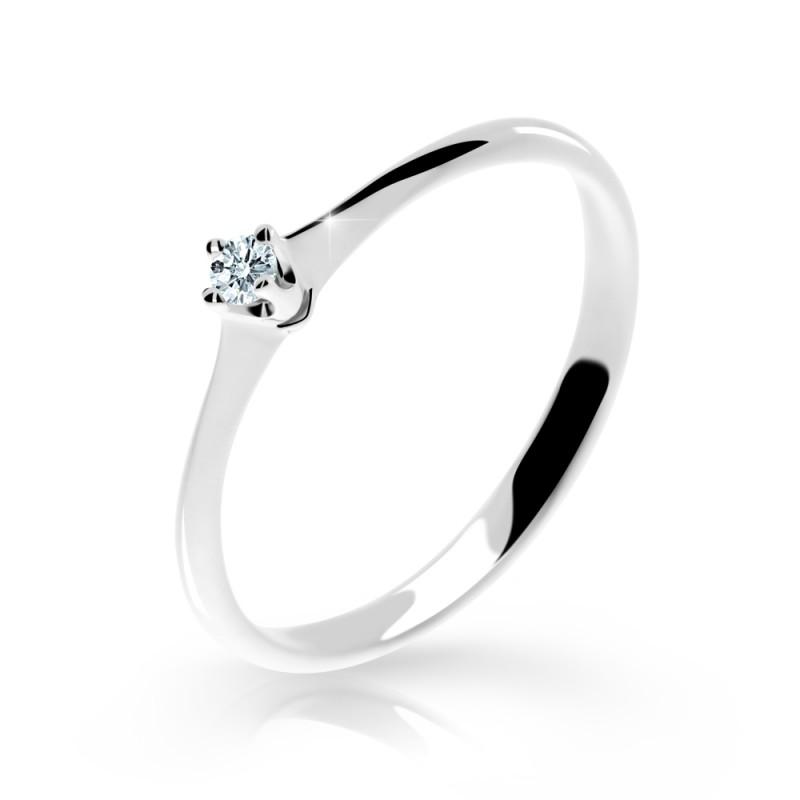 Danfil Zlatý zásnubní prsten DF 2940, bílé zlato, s briliantem