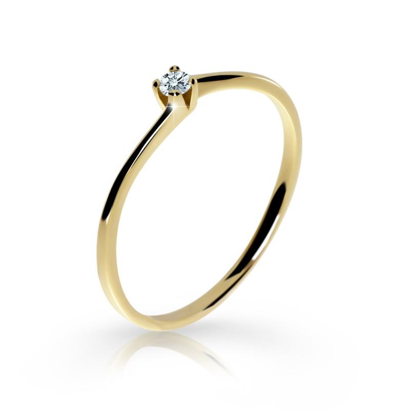 Danfil Zlatý zásnubní prsten DF 2943, žluté zlato, s briliantem