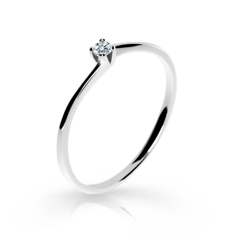 Danfil Zlatý zásnubní prsten DF 2943, bílé zlato, s briliantem