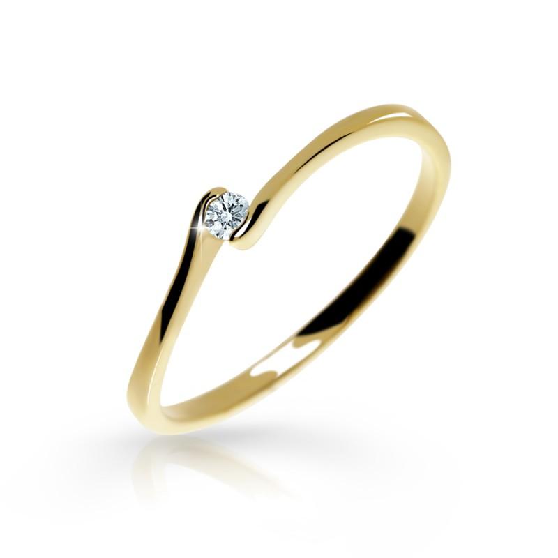 Danfil Zlatý zásnubní prsten DF 2947, žluté zlato, s briliantem